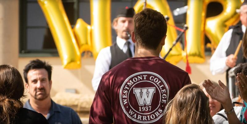 Westmont Tshirt Logo at Orientation
