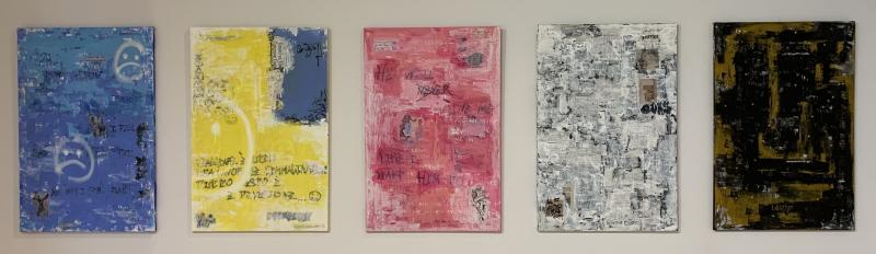 5 collages hung in gallery blue, yellow, pink, white, black