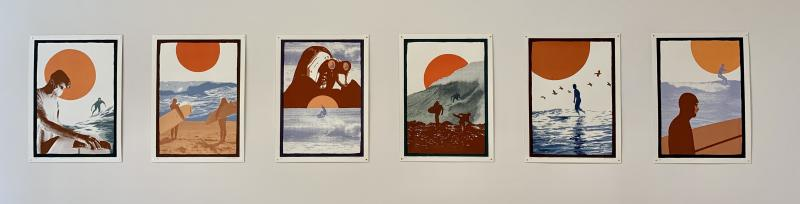 6 screenprints hung in gallery