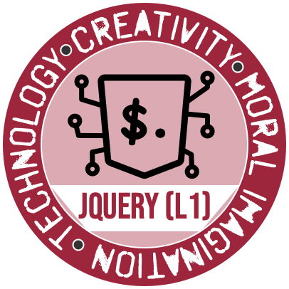 The jQuery (Level 1) Badge from the Westmont Center for Technology, Creativity and the Moral Imagination