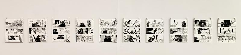 Ten page black and white graphic story hung in gallery